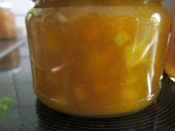 Aprikosenmarmelade mit Rhabarberstückchen